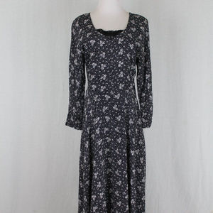 Vintage STARINA Long Sleeve Floral Maxi Dress 90's